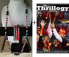 Men's 41 inch necklace, 3 stretchy bracelets, a copy of The Thrillogy