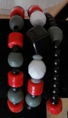 Red, White, Black, Gray Bracelet Trio
