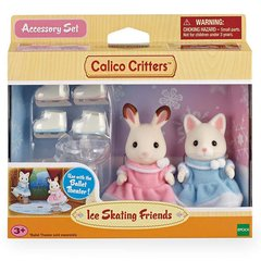 Calico Critters Ice Skating Friends Bell Hopscotch Rabbit & Susie Silk Cat