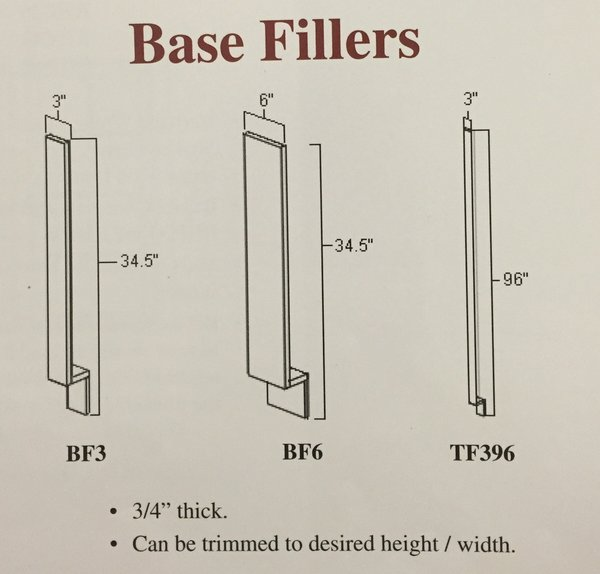 """White Shake Tall Filler 3"""" x 96"""" with toe"""