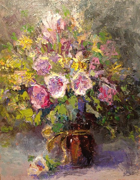 Oil Paintings by Wayne E Campbell (Floral With Brown Glass)