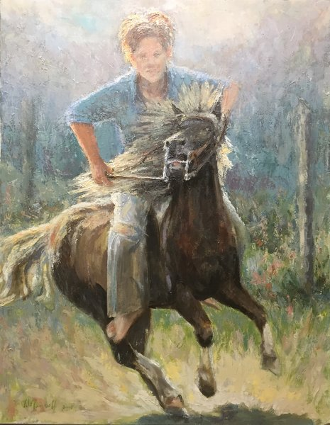 Oil Paintings by Wayne E Campbell (Never To Big For A Pony)
