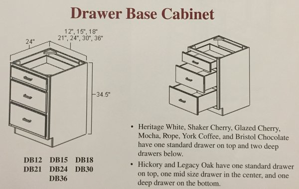 White Shaker Drawer base cabinet 30w x 24d x 34.5h