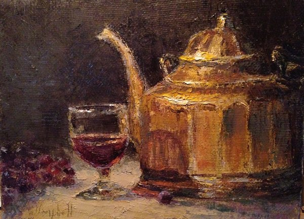 Oil Paintings by Wayne E Campbell (Wine And Brass)12x16