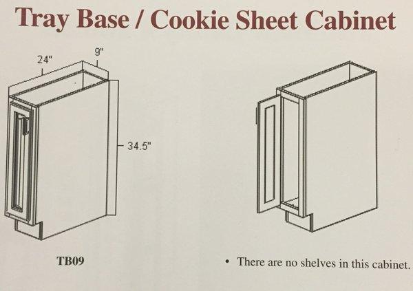 White Shake Tray base cabinet 9w x 24d x 34.5h