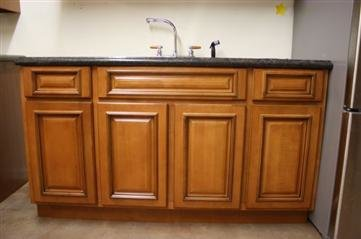 """TMG Cherry Glazed Maple 60""""w x 24""""d x 34.5"""" Sink base with 2 drawers"""