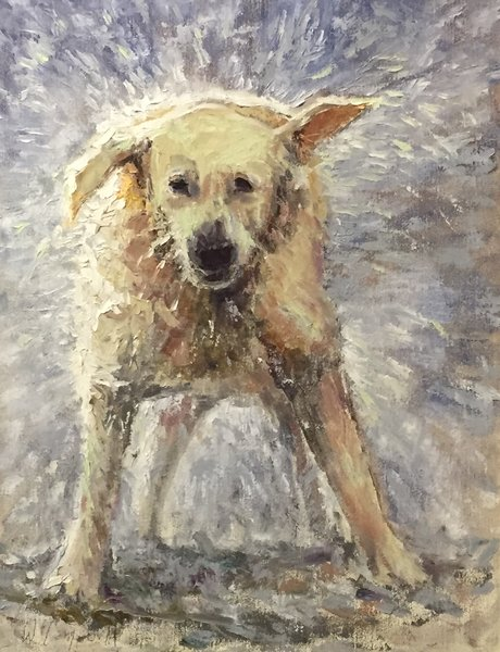 Oil Paintings by Wayne E Campbell (Wet Dog)