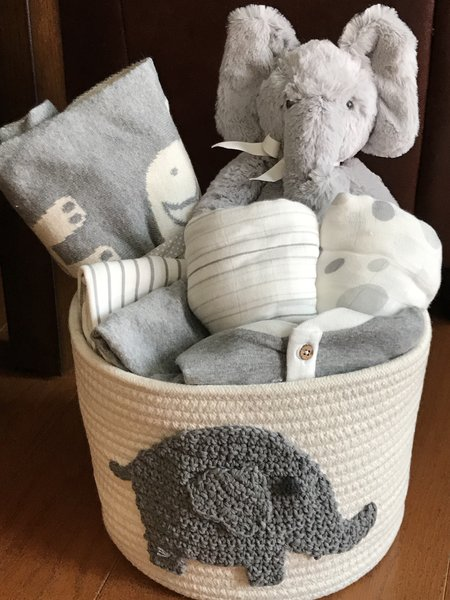 Elephant baby gift basket five brown monkies custom baby gift elliot elephant baby gift basket sold negle Images