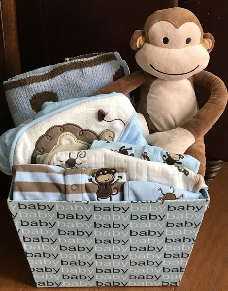 Casey monkey baby gift basket five brown monkies custom baby gift casey monkey baby gift basket negle Gallery