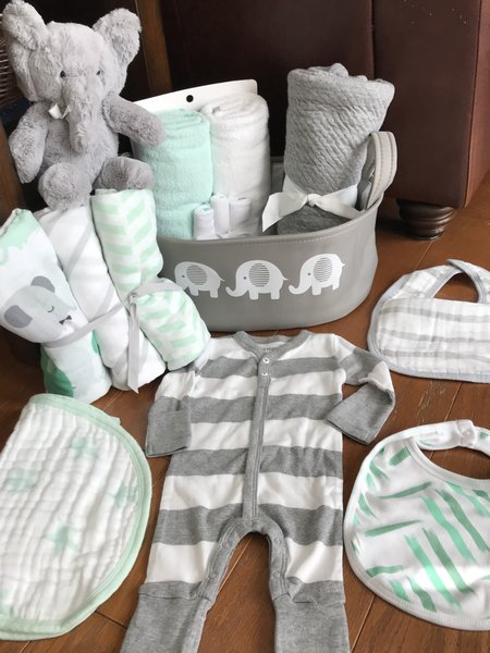 Elephant baby gift basket five brown monkies custom baby gift lucas elephant baby gift basket negle Images