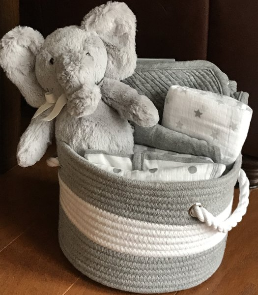 Elephant baby gift basket five brown monkies custom baby gift horton elephant baby gift basket sold negle Images