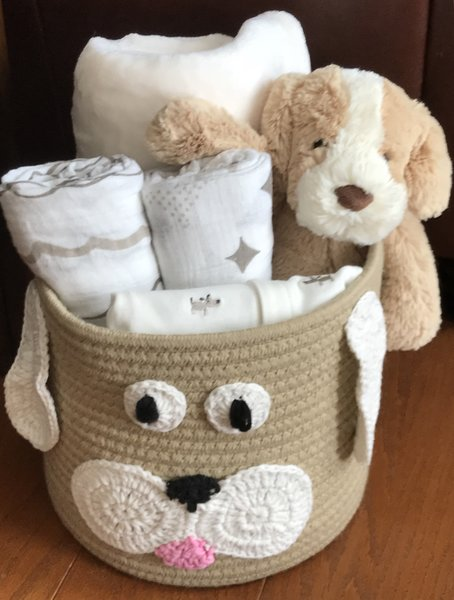 Dog baby gift basket five brown monkies custom baby gift baskets harley dog baby gift basket negle Images