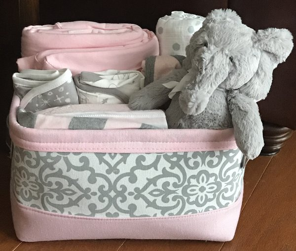 Elephant baby gift basket five brown monkies custom baby gift baskets elsie elephant baby gift basket negle Images