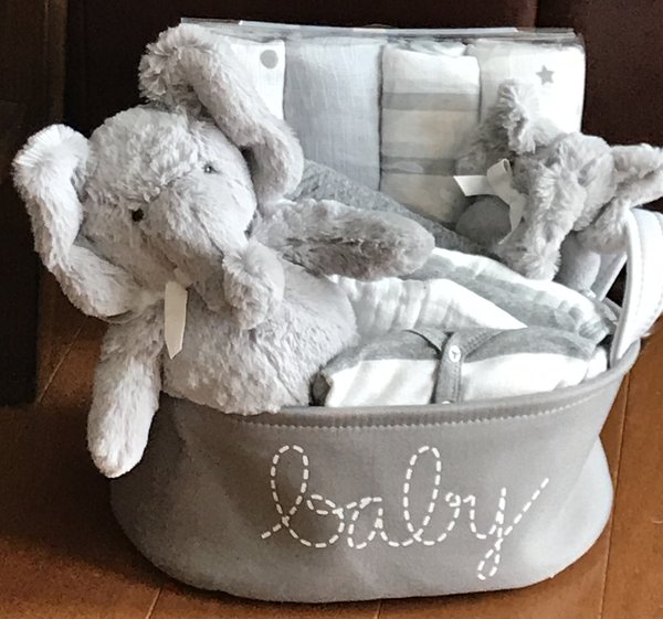 Elephant baby gift basket five brown monkies custom baby gift baby elephant gift basket negle