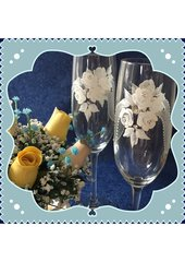 Sandra Soucy Hand painted stemware ~ The Wedding Ribbons