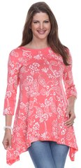 Floral Print Tunic 3/4 Sleeve
