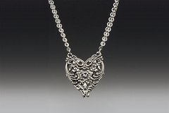 English Lace Heart Necklace