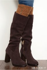 Boot Socks Tall Ruched Button