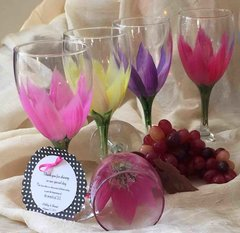 Sandra Soucy Hand painted stemware ~ Lily's ~ Pastel