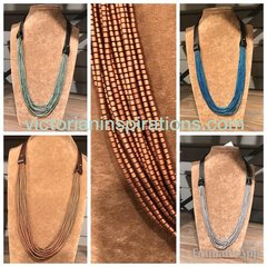 Sea Lily Long Leather w/Multi Hematite Strands