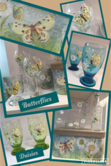 Sandra Soucy Hand painted stemware ~ Yellow Butterfly & Daisies