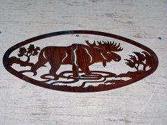 Moose 20'' Oval Wall Art