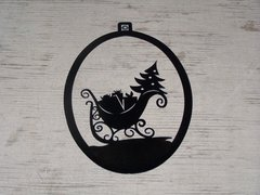 Sled with Christmas Tree Welcome Door Hanger