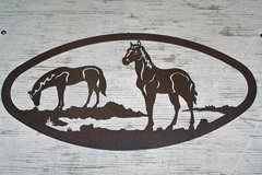 Two Horses 20'' Oval Wall Art
