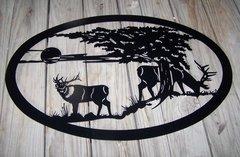 """Two Elk 32"""" Oval Wall Art"""