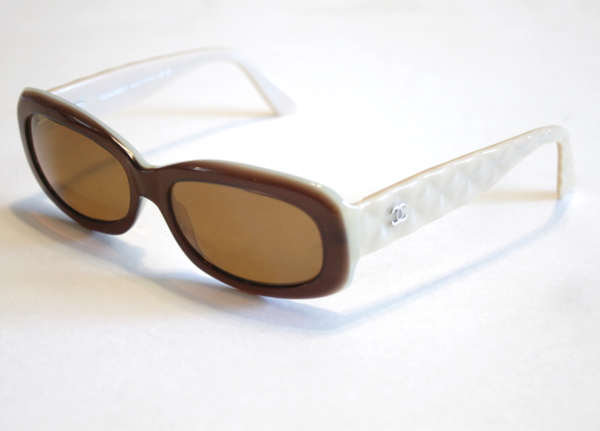 Chanel Eyeglass Frames Sunglasses 5094 Brown & Beige Quilted Silv ...
