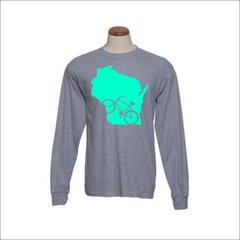 Wisconsin Bike Long Sleeve Shirt - Wisconsin Shirt - Wisconsin Biking - Wisconsin Pride - MADE IN THE USA!