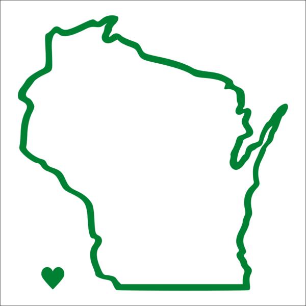 Wisconsin Outline Heart Vinyl Car Decal Michigan Decals