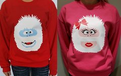 WASHABLE BUMBLE & BUMBELLA - COUPLES SWEATERS - ABOMINABLE SNOW COUPLE - UGLY CHRISTMAS SWEATERS