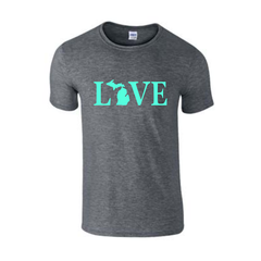 Love Text Michigan T-Shirt - Love Text Michigan - Michigan Shirt - Love Michigan - Michigan Pride - MADE IN THE USA!