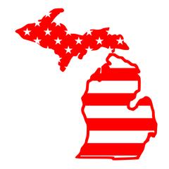 Michigan Map Stars & Stripes - American Flag Michigan Map - Michigan Pride - American Pride - Travel Michigan - Stars and Stripes