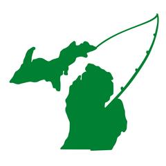 Michigan Map Fishing Vinyl Car Decal - Michigan Fishing - Fishing Decal