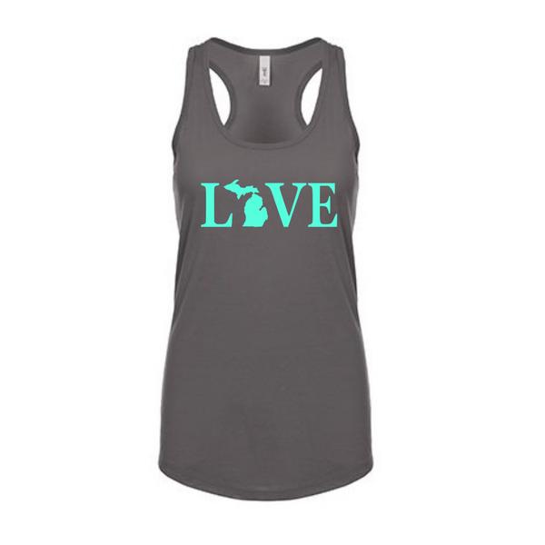 Love Text Michigan Map Women's Racerback Tank Top - Love Text Tank - Michigan Tank - Love Michigan - Michigan Love