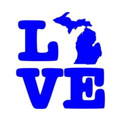 Love Michigan Map Vinyl Car Decal