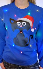CAT - LIGHT UP - UGLY CHRISTMAS SWEATER