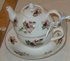 Tea for one Red Flower Bone china