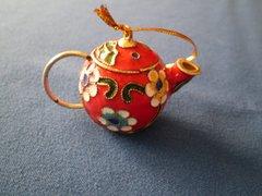 Mini Tea Pot Ornament Red