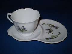 Tea cup and snack plate Thistle