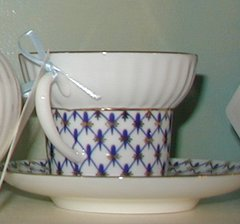 Cobalt Net Bone Cup and Saucer
