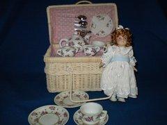 Little Girl Tea set Birthstone doll January