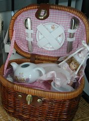 Little Girl Tea set Birthday doll pink