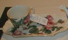 Romantic rose tray and cup