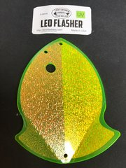 Large Leo Flasher Crushed Pearl on Chartreuse