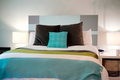 King or Cal King Pale Blue and Taupe Plank Wood Headboard