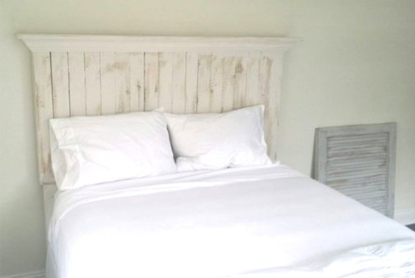 Pallet Wood Headboard With Crown Molding Shelf Vintage