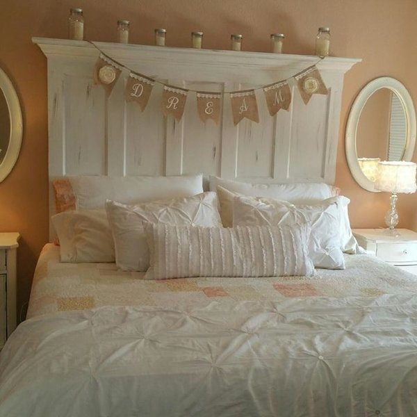 King size 5 panel vintage door headboard with faux for Fake headboard